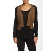 Magenta Leather Fringe Vest