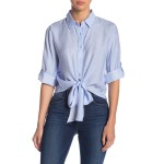 Waist-Tie Cropped Stripe Top