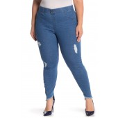 Distressed Denim Skimmer Pants (Plus Size)