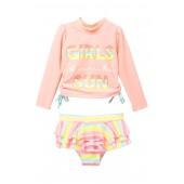 Sun Rashguard Top & Ruffle Bottom Swimsuit Set (Baby & Toddler Girls)