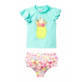 Pineapple Rashguard & Ruffle Print Bottom Swimsuit Set (Baby & Toddler Girls)