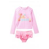 Summer Rashguard Top & Ruffle Bottom Swimsuit Set (Baby & Toddler Girls)
