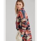 Print Linen-Blend Sweater