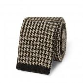 Houndstooth Knit Cashmere Tie