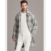 Plaid Cashmere Balmacaan Coat