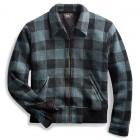 Indigo Plaid Full-Zip Sweater