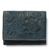 Tooled Indigo Leather Wallet