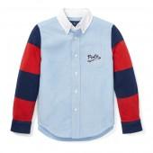 Jersey-Sleeve Oxford Shirt