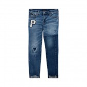 Chenille-Patch Distressed Jean