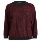 Stripe-Trim Lace Pullover