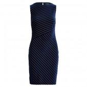 Shadow-Stripe Velvet Dress