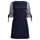 Georgette-Sleeve Jersey Dress