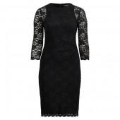 Sheer-Sleeve Lace Dress