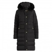 Faux Fur-Trim Hooded Down Coat