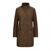 Gun Check Wool-Blend Coat