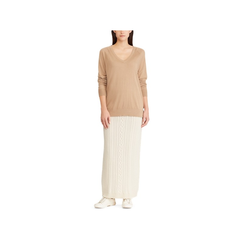 [폴로 랄프로렌] Cable Wool-Cashmere Midi Skirt