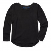 Waffle-Knit Cotton-Blend Top