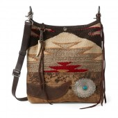 Concho Wool-Leather Hobo Bag