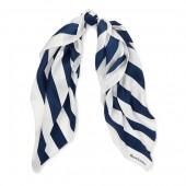 Pleated Striped Silk Scarf