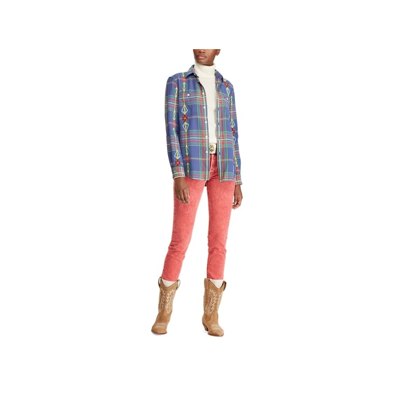 Relaxed Fit Beaded Twill Shirt