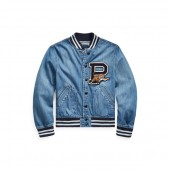 Cotton Denim Baseball Jacket