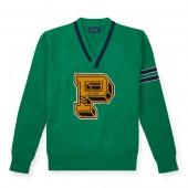 Cotton-Blend Letterman Sweater