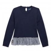 Gingham Cotton Peplum Sweater