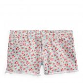 Floral Cotton Denim Short