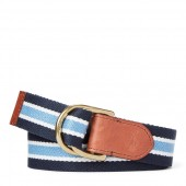 Striped Cotton-Blend Belt