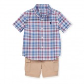 Plaid Shirt  Cargo Short Set