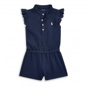 Cotton Eyelet-Sleeve Romper