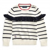 Striped Ruffled Cotton Sweater