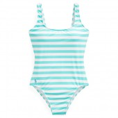 Striped Lace-Up-Back One-Piece