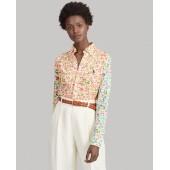 Floral-Print Knit Oxford Shirt