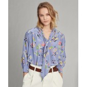 Floral Silk Necktie Blouse