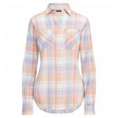 Plaid Crinkled Cotton Shirt