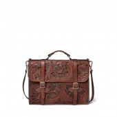 Hand-Tooled Leather Briefcase