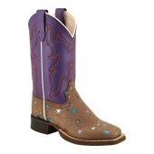 Old West 11 Inch Broad Square Toe Cowboy Boot - Youth