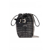 Black Belty studded leather bucket bag