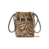 Animal print Belty leather-trimmed leopard-print calf hair bucket bag