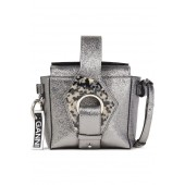 Silver Embellished metallic cracked-leather shoulder bag